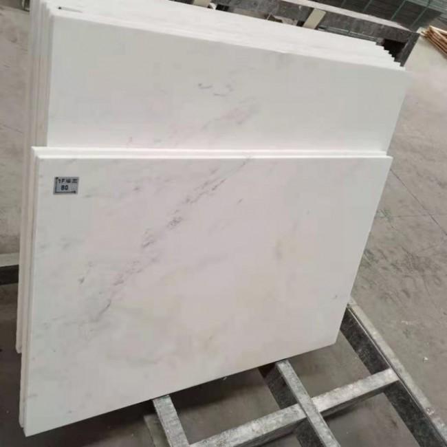 Snow white marble floor tiles