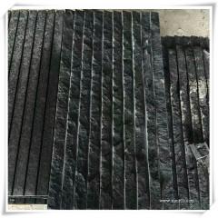 Line chiseled black basalt tiles