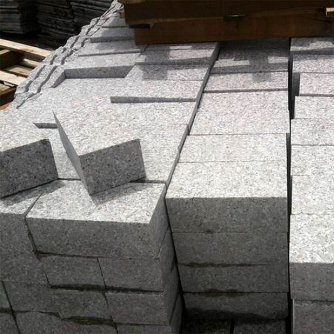 Top surface flamed G635 pink granite setts for driveway pavement