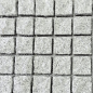 Mesh on back granite cobble pavement