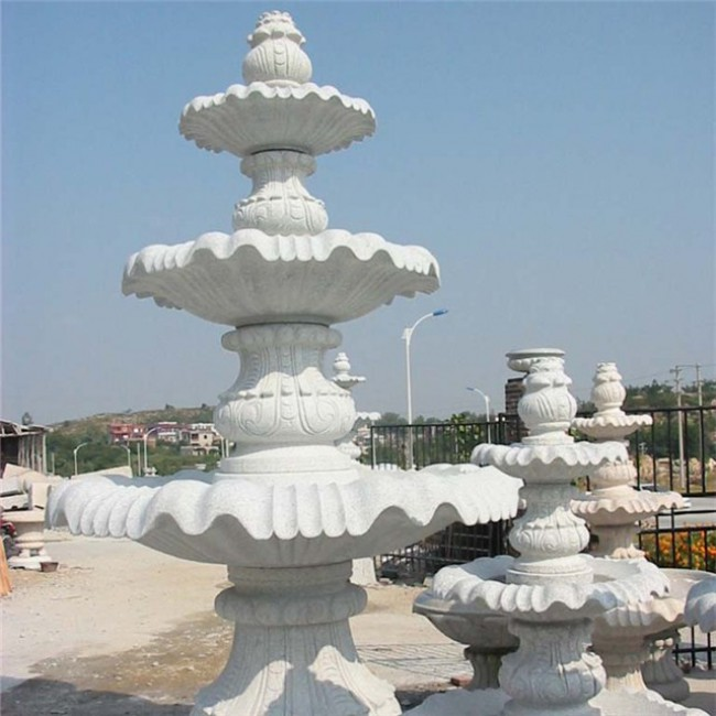 Beauty white granite fountain