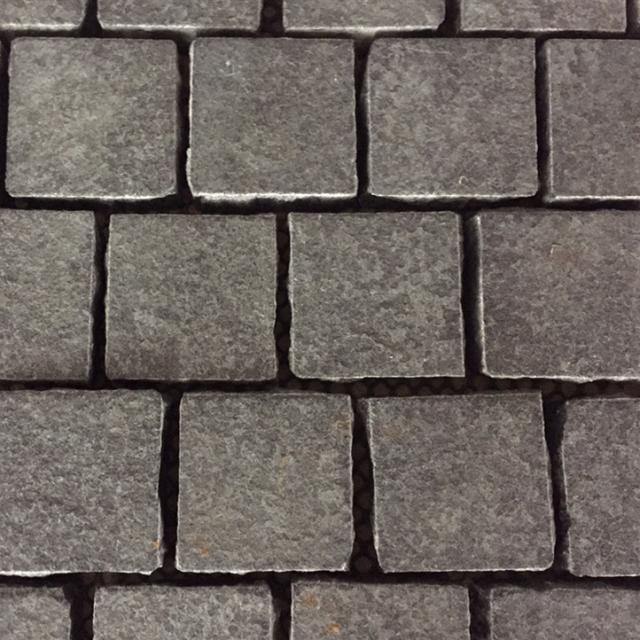 flamed mongolian black granite cube